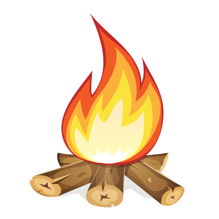 scouting: Illustration of a cartoon bonfire burning, with wood branch and sticks