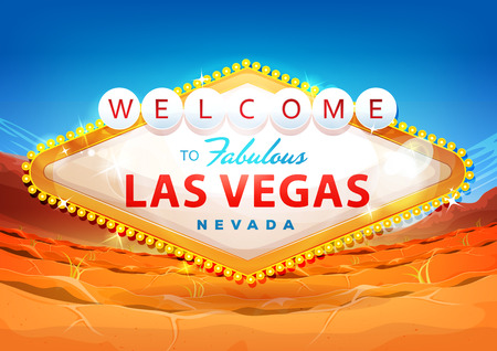 Illustration of a cartoon classic welcome to fabulous las vegas message, on nevada desert background