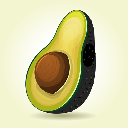 Illustration of a cartoon appetizing avocado fruit, design with glossy and shiny effect Illustration