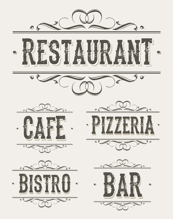 frame: Illustration of a set of vintage restaurant, bistro, bar, cafe and pizzeria banners, with retro ornaments Illustration