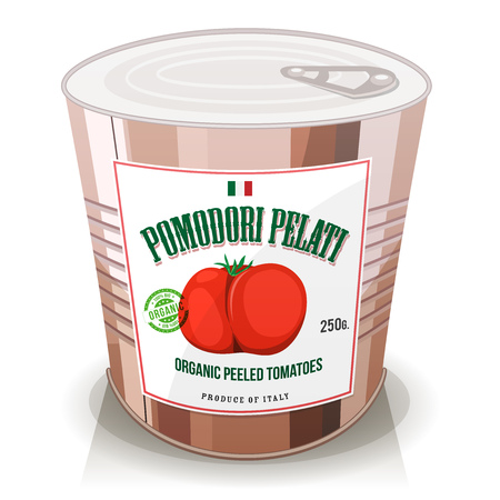 Illustration of a cartoon can with organic pelled tomatoes, italian specialty