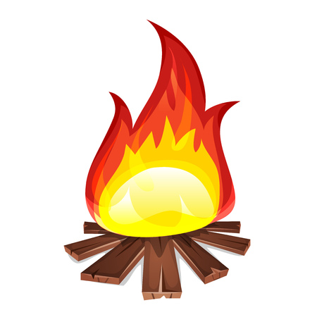 Illustration of a cartoon bonfire burning, with wood planks