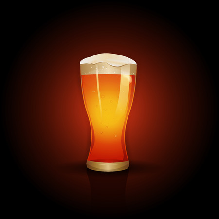 Illustration of a mouth watering beer glass on design red color gradient background Çizim