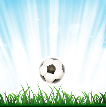 Illustration of a soccer ball bounding inside grass, with light and shining sky Иллюстрация