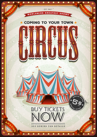 Illustration of a retro and vintage circus poster background.