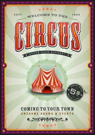Illustration of a vintage circus poster background. Ilustração