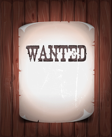 Illustration of a vintage old wanted placard poster