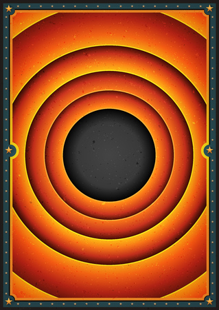 Illustration of a retro and vintage abstract circus poster background, with spiral circles and grunge texture Ilustração