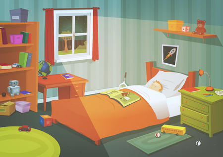 Illustration of a cartoon kid or teenager bedroom with boy sleeping in the night, containing lifestyle elements, toys, bed, books, desk, bookshelf, and accessories in mess