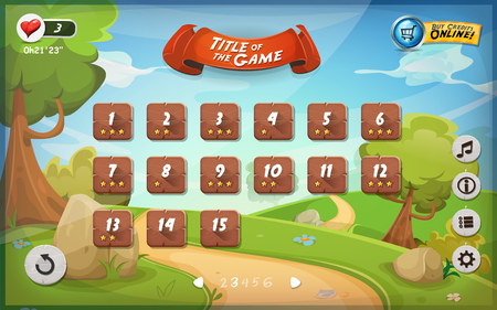 Illustration of a funny graphic game user interface background.