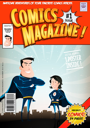 Illustration of a cartoon editable comic book cover template, with super hero man and woman characters, titles and subtitles to customize, and wrong bar code and label Illustration