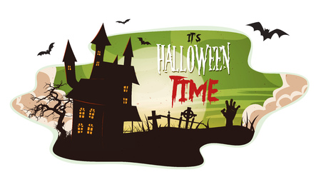 Illustration of a cartoon spooky landscape background, for halloween holidays, with haunted house, zombie hand, christian tombstones inside graveyard, fog, full moon and bats Illustration