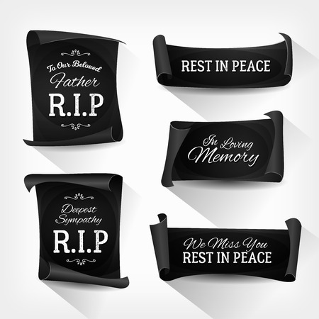 Illustration of a set of elegant design black funeral banners and ribbons for burial 일러스트