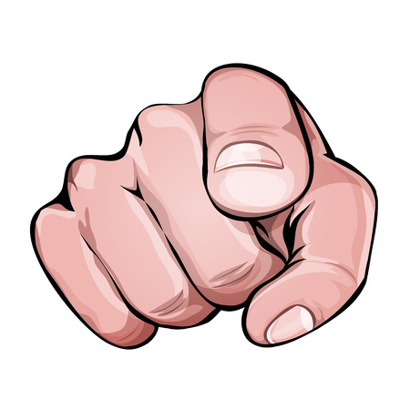 Illustration of a human hand icon with index finger pointing