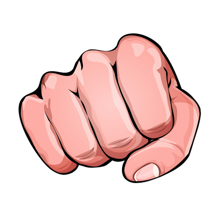 Illustration of a human clenched fist punching, for fight or power advertisement message.