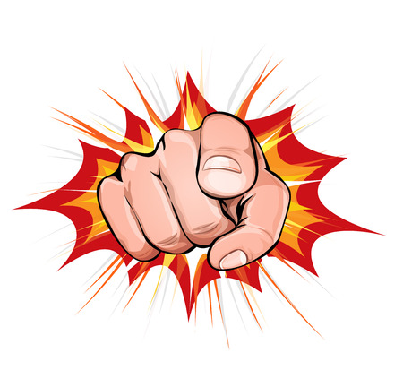 Illustration of a comic man hand icon with index finger poiting, on blasting background for hiring or warning message Illustration
