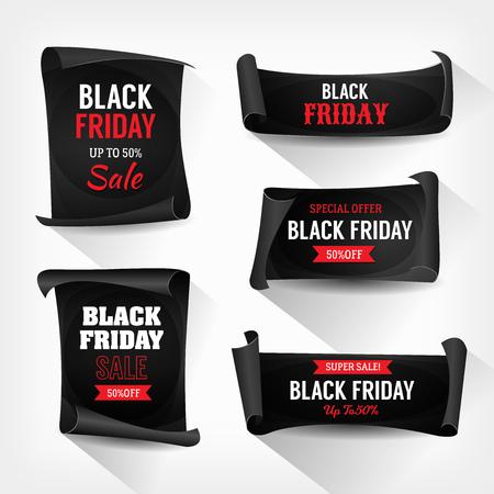 Illustration d'un ensemble de signes de vente vendredi noir, sur des rouleaux de parchemin Banque d'images - 90143947