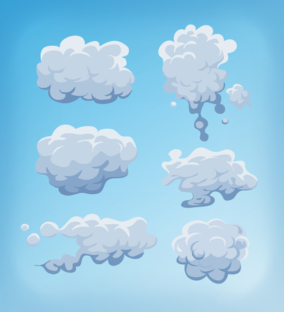 Illustration of a set of cartoon clouds, smoke patterns and fog icons on blue sky background