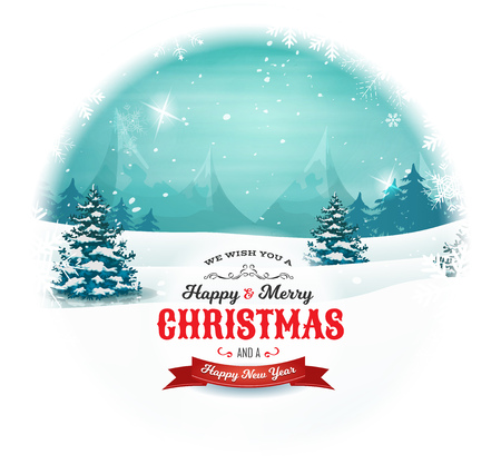 Illustration of a retro christmas landscape background, with cloudy sky, firs, snow, mountains and elegant banners inside rounded snowball, for winter and new year holidays Ilustracja