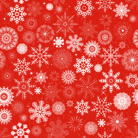 Illustration of a seamless wallpaper background with white winter snowflakes for christmas and new years eve holidays