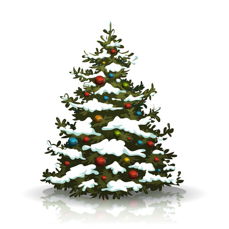 Illustration of a christmas pine tree isolated on white background, with balls decoration and winter snow on its branch
