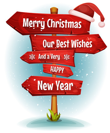Illustration of a cartoon comic merry christmas and happy new year message on red wooden road and transportation arrows signs, with santa claus hat Illustration