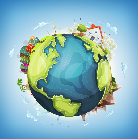 Illustration of a cartoon design earth planet globe with architecture and environment elements, house, city, mountains, volcano, windmills, lighthouse, desert island and ocean Illustration