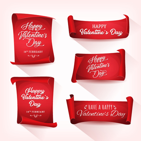 Set of happy valentines day wishes on red parchment scrolls