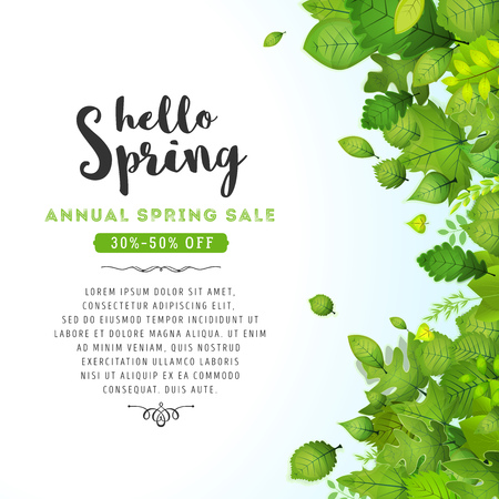 Illustration of a spring season background, with green leaves, from various plants and trees species and annual sale