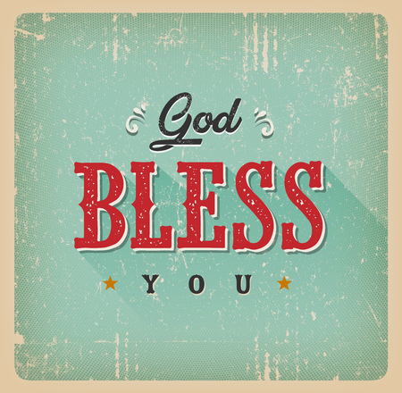 Illustration of a vintage and grunge textured god bless you card, with ornament, decorative hand drawn floral patterns