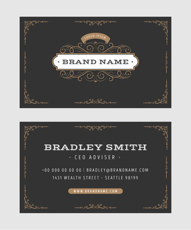 Illustration of a set of luxury vintage business card templates, with flourish patterns, hand drawn floral frames and ornaments, front and back side Ilustrace