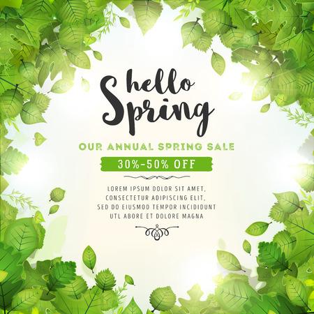 Ilustración de un fondo de la temporada de primavera, con halo de luz solar, hojas verdes, de diversas especies de plantas y árboles y venta anual