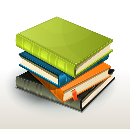 Vector illustration of a pile of elegant design photographs or pictures albums and books with page bookmark.