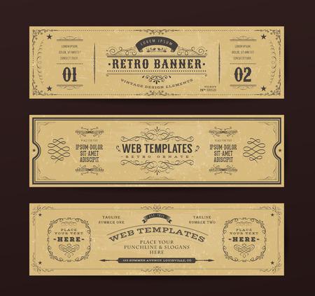 Illustrazione di un set di modelli di intestazione web design retrò, con banner, motivi floreali e ornamenti su sfondo ampio lavagna Vettoriali