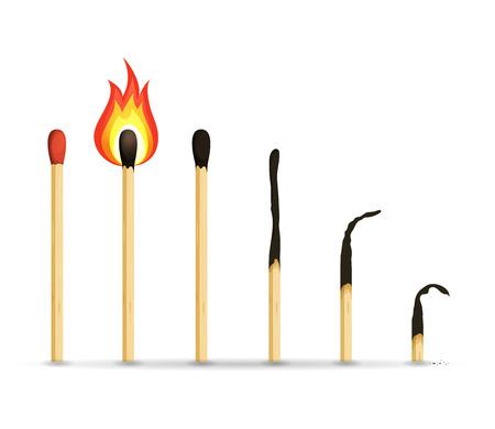 Ilustracja przedstawiająca zestaw drewnianych zapałek z próbkami normalnymi, spalonymi i spalonymi