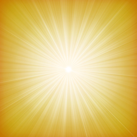 Illustration of a design and flashy summer yellow star burst background, with thin sun and light beams Иллюстрация