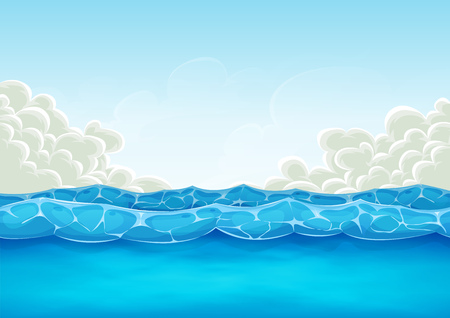 Illustration of cartoon wide water waves and ocean patterns, for summer holidays vacations landscape, or background. Çizim
