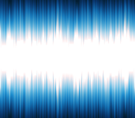 Illustration of an abstract technology background, with blue light or sound wave oscillation like for a speech synthetizer, with shiny and bright rays effect