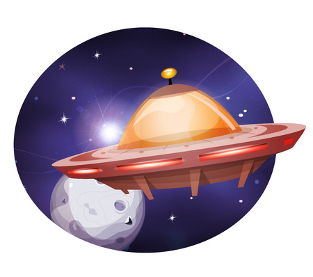 Illustration of an alien rocket spaceship flying through outer space among planets and stars