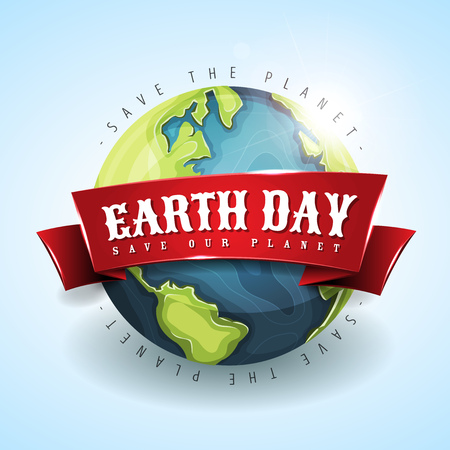 earth day banner with globe on light background, Vector illustration.