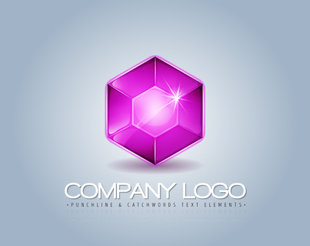 Illustration of a glossy and bright pink gemstone logotype, with text element on elegant shaded blue background, for luxury company visual identity
