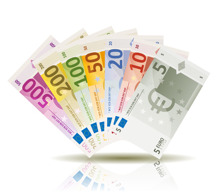 Illustration of a a set of fake euro bills currency speciment, with amount from five to five hundred 일러스트