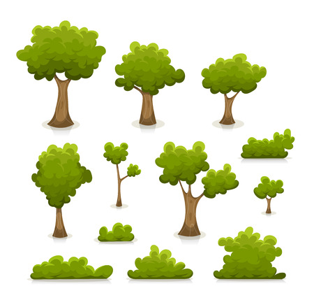 Illustration of a set of cartoon spring or summer green forest trees and other plants and elements like foliage, bush and hedges.