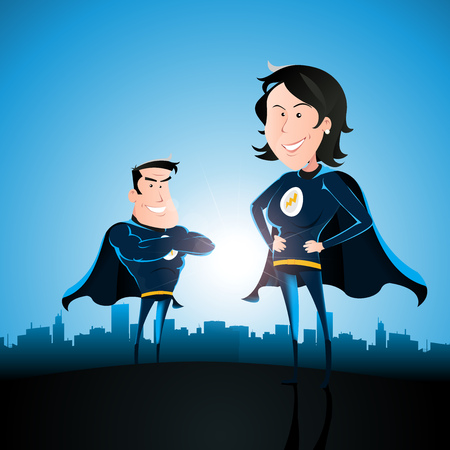 Illustration of a cartoon couple of superhero man and woman standing proudly with blue sky, shining sun and cityscape behind