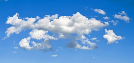 Illustration of a cloudscape with smoke shapes, on blue sky background