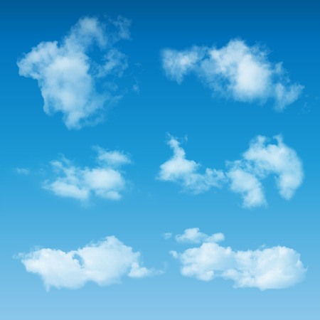 Illustration of a set of elegant abstract realistic clouds with smoke shapes, on blue sky background