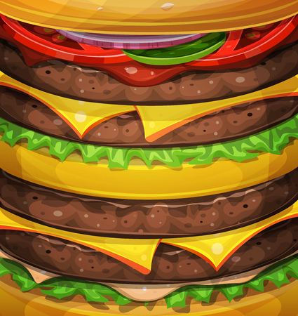 Illustration of an american big burger design, with vertically layered ingredients