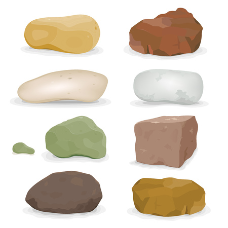 Illustration of a set of various cartoon styled rocks and other boulders, ore and minerals Çizim