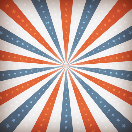 Illustration of an abstract vintage and retro american patriotic poster, with sunbeams background. Illustration