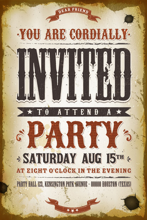 Illustration of a vintage old western placard poster, with invitation text and decoration elements, grunge textures and scratched effects